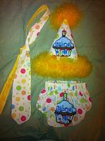 3 Piece 1st Birthday Set *tie*diapercover*hat